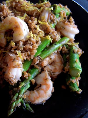 Shrimp Asparagus and Bulgar