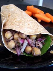 Sweet Pomegranate Chickpeas with Optional Tuna in a wrap