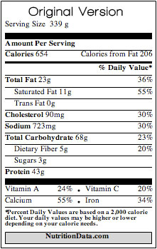 Whole Wheat Pasta Pie - Original Nutritional information