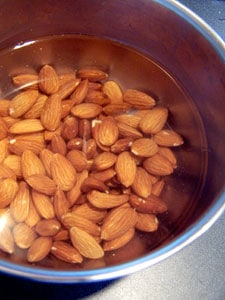 almonds soaking in water