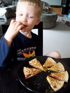 Quick Avocado Quesadilla  - toddler eating
