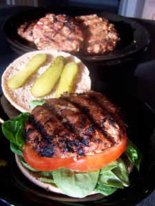 Grilled Honey Mustard Turkey Oat Burgers - vew 2
