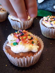 Quick & Light Pumpkin Spice Cupcakes with Cheesecake Frosting - sprinkling