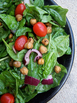 Spinach Salad with Toasted Chickpeas and Pomegranate Vinaigrette
