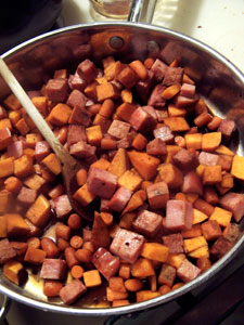 Ham and Sweet Potato Skillet - before