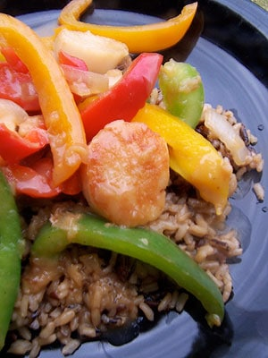 Idea: Sweet and Sour Scallops and Peppers over Rice