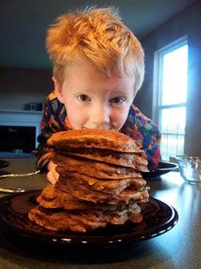 Apple-Cinnamon Pancakes - eating