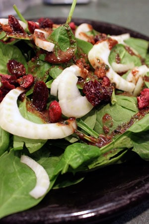 Spinach and Fennel Salad with Garlic Balsamic Vinaigrette and Dried Berries