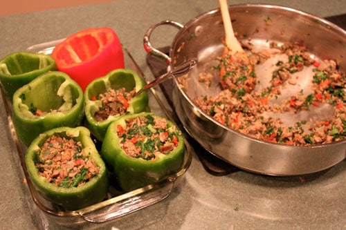 "The ""OMG I got them to eat Kale and Bulgur without one single complaint"" Stuffed Peppers! - fill them"
