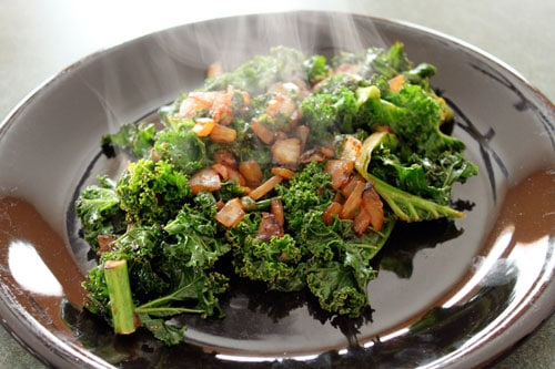 Wasabi Salmon with Asian Kale for One - the kale