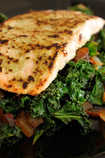Wasabi Salmon with Asian Kale for One