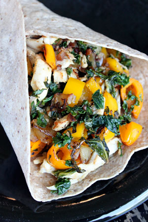 Chicken, Kale and Sweet Pepper Wrap