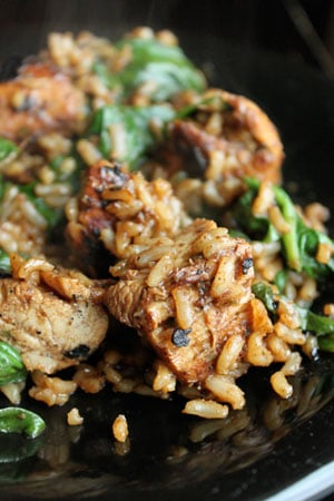 POM Marinated Chicken with Brown Rice and Spinach