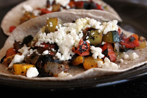 Skillet Veggie and Feta Tacos - finished