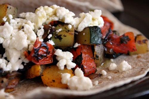 Skillet Veggie and Feta Tacos - close up