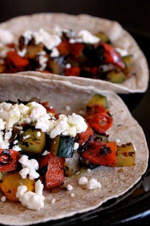 Skillet Veggie and Feta Tacos