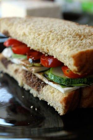 Feta Cucumber, Tomato and Basil Sandwich