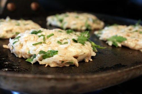 Turnip Parsley Cakes - cooking