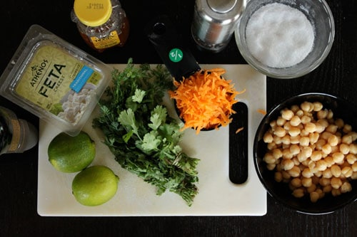 Cilantro, Lime and Chickpea Salad with Feta - ingredients