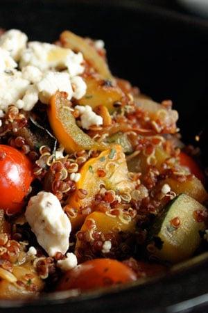 Red Quinoa Salad with Skillet Veggies