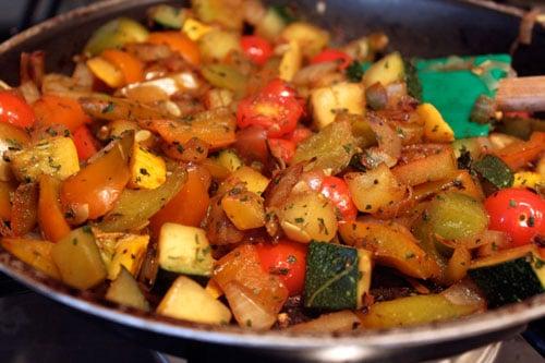Red Quinoa Salad with Skillet Veggies - the veggies