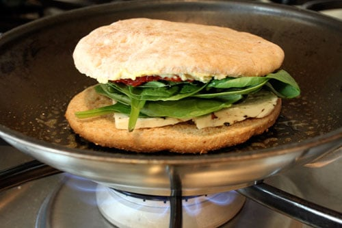 Grilled Hummus and Feta Sandwich with Sun-Dried Tomatoes and Baby Spinach - step 1