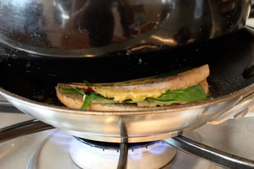 Grilled Hummus and Feta Sandwich with Sun-Dried Tomatoes and Baby Spinach - press