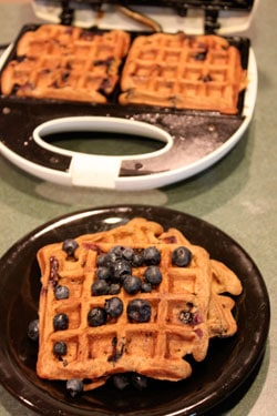 Whole Wheat Blueberry Pancake Waffles - batch