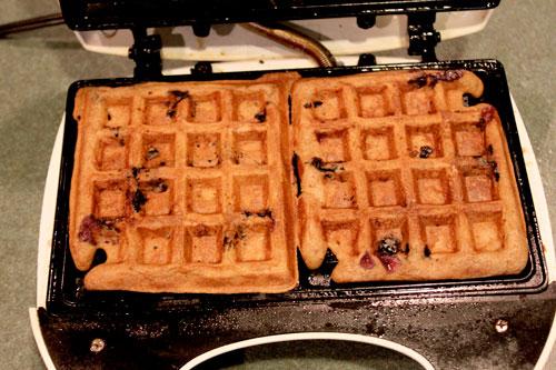 Whole Wheat Blueberry Pancake Waffles - after