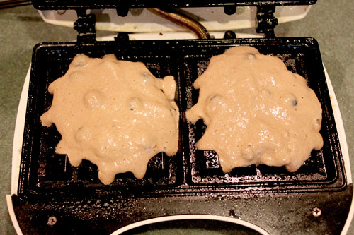 Whole Wheat Blueberry Pancake Waffles - before