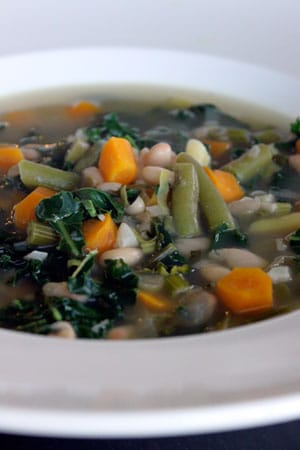 Fresh From the Farm Vegetable Soup with Leeks and Kale