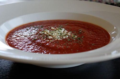 Homemade Garden Tomato Soup  - serve
