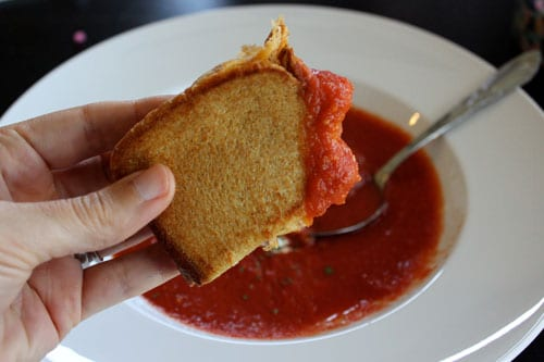 Homemade Garden Tomato Soup - grilled cheese