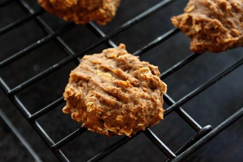 Vegan Pumpkin Oatmeal Cookies - close up