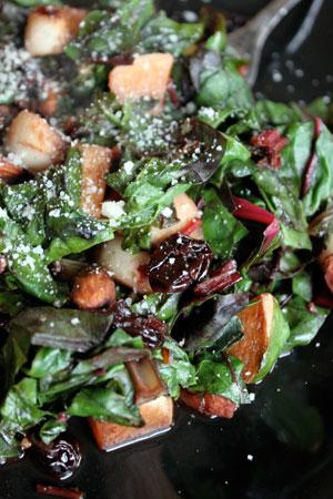 Warm Chard Salad with Turnips, Almonds and Dried Cherries