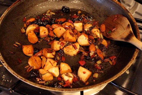 Warm Chard Salad with Turnips, Almonds and Dried Cherries - the skillet