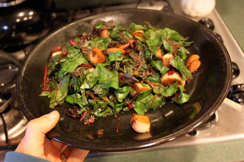 Warm Chard Salad with Turnips, Almonds and Dried Cherries - finished
