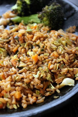 Leek, Carrot, Cabbage Fried Rice