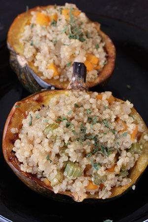 Acorn Squash Stuffed with Apple Cider Quinoa