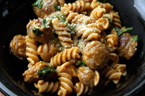 Pasta with Pumpkin, Sausage and Spinach