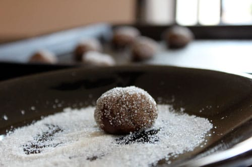 Molasses Cookie Balls - roll in sugar