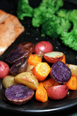 Colorful Roasted Potatoes with Carrots and Rosemary