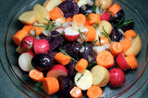 Colorful Roasted Potatoes with Carrots and Rosemary before
