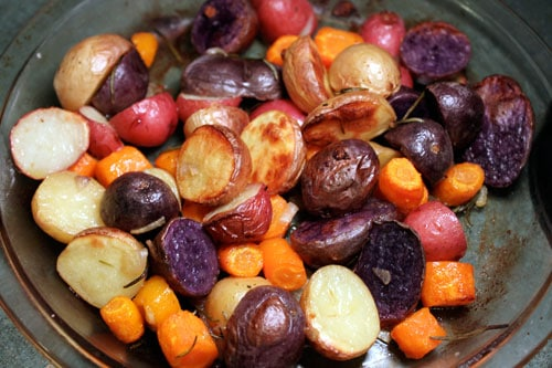 Colorful Roasted Potatoes with Carrots and Rosemary - after