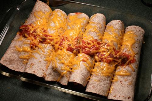 Leftover Turkey (or Chicken) Enchilada Filling - after baking