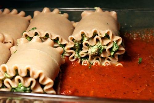 Turkey Spinach Lasagna Roll-ups - close up