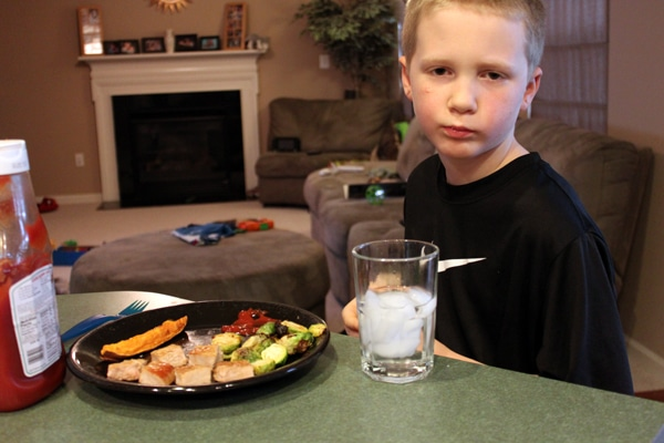 7 year old's reaction to Pork Chop Dinner