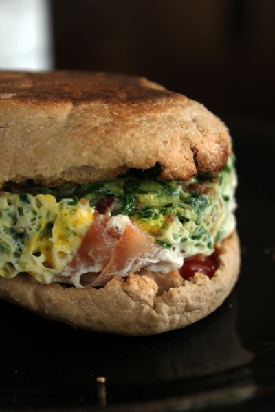 Egg MugMuffin with Spinach, Ham and Bacon