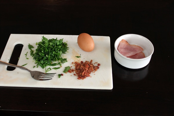Egg MugMuffin with Spinach, Ham and Bacon - ingredients