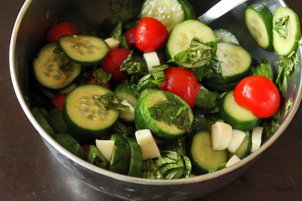 Light Basil Cucumber Salad with Tomatoes and Cheese